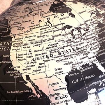 Exerz Metallisch Globus (Durchmesser: 20 cm) - Pädagogisch/Geografisch/Dekoration - Mit einem Metallfuß - in Englischer Sprache (20CM Metallisches Schwarz) - 4