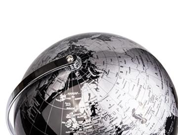 Exerz Metallisch Globus (Durchmesser: 20 cm) - Pädagogisch/Geografisch/Dekoration - Mit einem Metallfuß - in Englischer Sprache (20CM Metallisches Schwarz) - 5