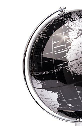 Exerz Metallisch Globus (Durchmesser: 20 cm) - Pädagogisch/Geografisch/Dekoration - Mit einem Metallfuß - in Englischer Sprache (20CM Metallisches Schwarz) - 6