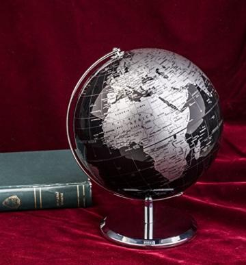 Exerz Metallisch Globus (Durchmesser: 20 cm) - Pädagogisch/Geografisch/Dekoration - Mit einem Metallfuß - in Englischer Sprache (20CM Metallisches Schwarz) - 7