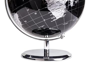 Exerz Metallisch Globus (Durchmesser: 20 cm) - Pädagogisch/Geografisch/Dekoration - Mit einem Metallfuß - in Englischer Sprache (20CM Metallisches Schwarz) - 8