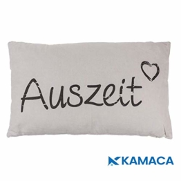 Kamaca AUSZEIT Kissen 30 cm x 50 cm Flauschig gefülltes Kissen mit Reißverschluss Bezug aus 100% Baumwolle EIN Hingucker und wertiges Geschenk (AUSZEIT Creme) - 1
