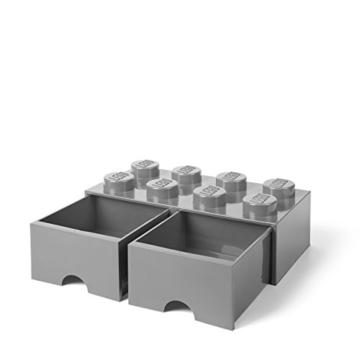 LEGO 4006 Brick 8 Knöpfe, 2 Schubladen, stapelbar Aufbewahrungsbox, 9,4 l, grau, Plastik, Legion/M. Stone Grey, 50 x 25 x 18 cm - 2