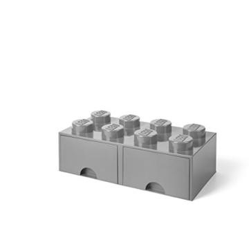 LEGO 4006 Brick 8 Knöpfe, 2 Schubladen, stapelbar Aufbewahrungsbox, 9,4 l, grau, Plastik, Legion/M. Stone Grey, 50 x 25 x 18 cm - 3