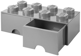 LEGO 4006 Brick 8 Knöpfe, 2 Schubladen, stapelbar Aufbewahrungsbox, 9,4 l, grau, Plastik, Legion/M. Stone Grey, 50 x 25 x 18 cm - 1
