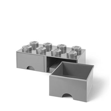 LEGO 4006 Brick 8 Knöpfe, 2 Schubladen, stapelbar Aufbewahrungsbox, 9,4 l, grau, Plastik, Legion/M. Stone Grey, 50 x 25 x 18 cm - 4