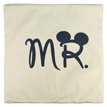 Luxbon 2er Set Mr Mrs Kissenbezug dauerhaft Leinen Dekokissen Hochzeit Valentinstag Geschenk 45x45 cm 18x18 '' - 4