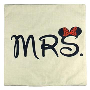 Luxbon 2er Set Mr Mrs Kissenbezug dauerhaft Leinen Dekokissen Hochzeit Valentinstag Geschenk 45x45 cm 18x18 '' - 5