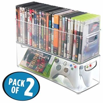 mDesign 2er-Set Aufbewahrungsboxen – Schubladen Organizer zum Verstauen von CDs, DVDs oder Schreibwaren – stapelbare Aufbewahrung für Büro, Bad und Küche – durchsichtig - 2