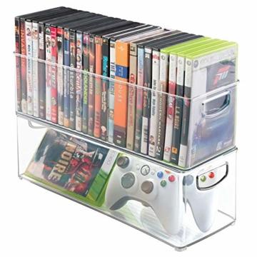 mDesign 2er-Set Aufbewahrungsboxen – Schubladen Organizer zum Verstauen von CDs, DVDs oder Schreibwaren – stapelbare Aufbewahrung für Büro, Bad und Küche – durchsichtig - 3