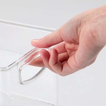 mDesign 2er-Set Aufbewahrungsboxen – Schubladen Organizer zum Verstauen von CDs, DVDs oder Schreibwaren – stapelbare Aufbewahrung für Büro, Bad und Küche – durchsichtig - 4
