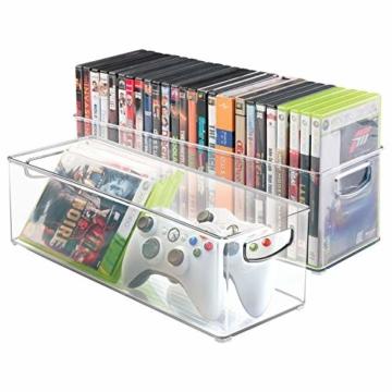mDesign 2er-Set Aufbewahrungsboxen – Schubladen Organizer zum Verstauen von CDs, DVDs oder Schreibwaren – stapelbare Aufbewahrung für Büro, Bad und Küche – durchsichtig - 1