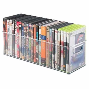 mDesign 2er-Set Aufbewahrungsboxen – Schubladen Organizer zum Verstauen von CDs, DVDs oder Schreibwaren – stapelbare Aufbewahrung für Büro, Bad und Küche – durchsichtig - 7
