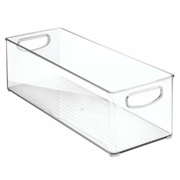 mDesign 2er-Set Aufbewahrungsboxen – Schubladen Organizer zum Verstauen von CDs, DVDs oder Schreibwaren – stapelbare Aufbewahrung für Büro, Bad und Küche – durchsichtig - 8