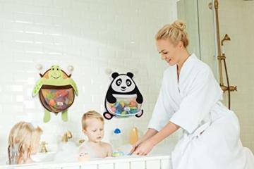 Nooni Care Bad Spielzeug Aufbewahrung, Premium Kinder Bad Spielzeugkorb Dicker Panda, mit Zwei starken Saugnäpfen - 5