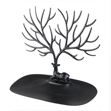 NUOLUX Deko Hirschgeweih Baum Design Armband Halskette Halter / Black Jewelry Organizer Stand w / Ring Tablett (schwarz) - 3