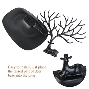 NUOLUX Deko Hirschgeweih Baum Design Armband Halskette Halter / Black Jewelry Organizer Stand w / Ring Tablett (schwarz) - 4