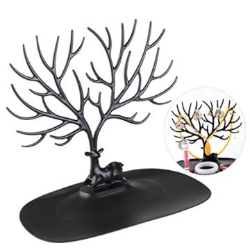 NUOLUX Deko Hirschgeweih Baum Design Armband Halskette Halter / Black Jewelry Organizer Stand w / Ring Tablett (schwarz) - 1