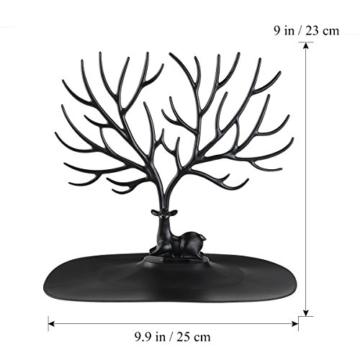 NUOLUX Deko Hirschgeweih Baum Design Armband Halskette Halter / Black Jewelry Organizer Stand w / Ring Tablett (schwarz) - 5