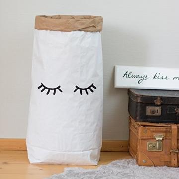 Papiersack Paper Bag rund Kraftpapier Beutel Braun Weiß 'Wimpern' - 2