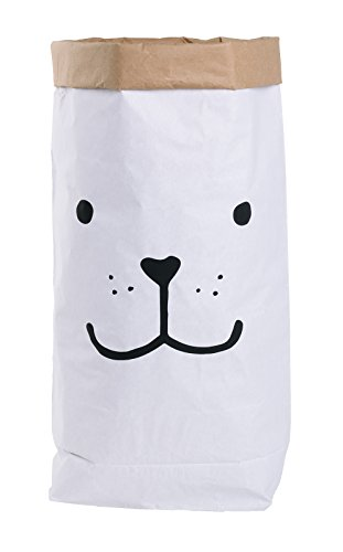 Papiersack Paper Bag rund Kraftpapier Beutel Braun Weiß 'Wimpern' - 4