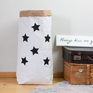 Papiersack Paper Bag rund Kraftpapier Beutel Braun Weiß 'Wimpern' - 6