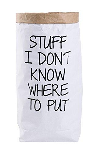 Papiersack Paper Bag rund Kraftpapier Beutel Braun Weiß 'Wimpern' - 8