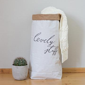Papiersack Paper Bag rund Kraftpapier Beutel Braun Weiß 'Wimpern' - 9