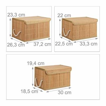 Relaxdays Aufbewahrungskorb 5er Set, mit Deckel + Klettverschluss, Bambuskorb, dekorative Aufbewahrungsbox, naturfarben - 2
