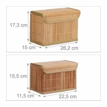 Relaxdays Aufbewahrungskorb 5er Set, mit Deckel + Klettverschluss, Bambuskorb, dekorative Aufbewahrungsbox, naturfarben - 3