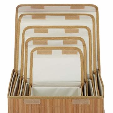 Relaxdays Aufbewahrungskorb 5er Set, mit Deckel + Klettverschluss, Bambuskorb, dekorative Aufbewahrungsbox, naturfarben - 4