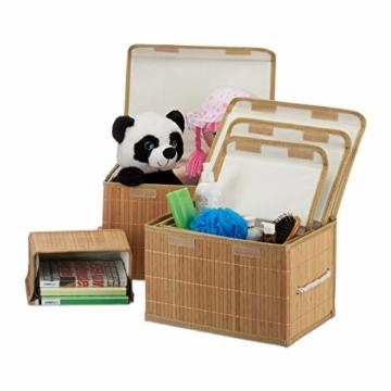 Relaxdays Aufbewahrungskorb 5er Set, mit Deckel + Klettverschluss, Bambuskorb, dekorative Aufbewahrungsbox, naturfarben - 1