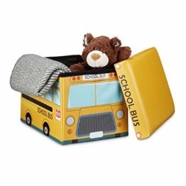Relaxdays Faltbare Spielzeugkiste Schulbus HBT 32 x 48 x 32 cm stabiler Kinder Sitzhocker als Spielzeugbox aus Kunstleder mit Stauraum ca. 37 l und Deckel zum Abnehmen für Kinderzimmer, School-Bus - 1