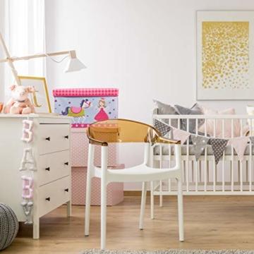 Relaxdays Sitzbox für Kinder, Faltbare Aufbewahrungsbox mit Stauraum, Prinzessin und Fee, 66 Liter, platzsparend, pink - 2