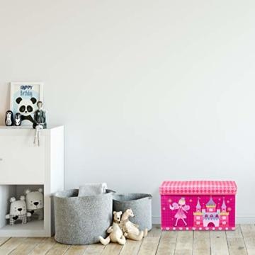 Relaxdays Sitzbox für Kinder, Faltbare Aufbewahrungsbox mit Stauraum, Prinzessin und Fee, 66 Liter, platzsparend, pink - 3