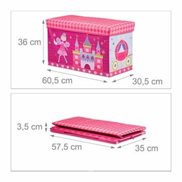 Relaxdays Sitzbox für Kinder, Faltbare Aufbewahrungsbox mit Stauraum, Prinzessin und Fee, 66 Liter, platzsparend, pink - 4