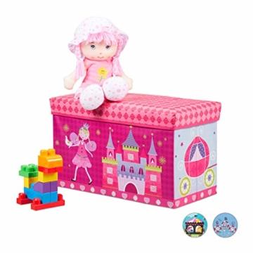 Relaxdays Sitzbox für Kinder, Faltbare Aufbewahrungsbox mit Stauraum, Prinzessin und Fee, 66 Liter, platzsparend, pink - 1