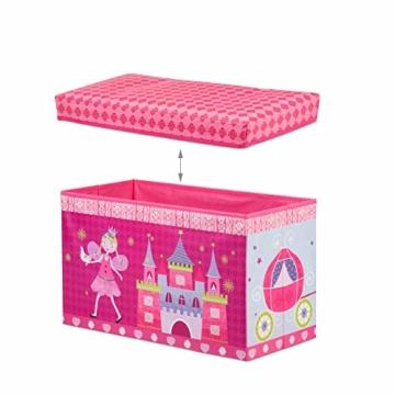 Relaxdays Sitzbox für Kinder, Faltbare Aufbewahrungsbox mit Stauraum, Prinzessin und Fee, 66 Liter, platzsparend, pink - 6