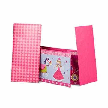 Relaxdays Sitzbox für Kinder, Faltbare Aufbewahrungsbox mit Stauraum, Prinzessin und Fee, 66 Liter, platzsparend, pink - 7