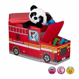 Relaxdays Sitzhocker Kinder, Spielzeugkiste mit Fach, faltbar, Feuerwehrauto, Stauraum, Jungen & Mädchen, 50 Liter, rot - 1