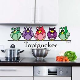 Sunnywall® Wandtattoo Wandaufkleber Topfgucker Eulen Vögel Kochen Küche Deko Essen Wandsticker (60,00 cm x 22,00 cm (Gr1), bunt) - 1