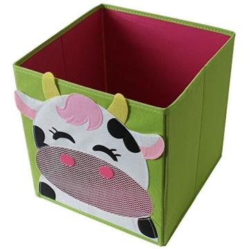 TE-Trend 4 Stück Textil Faltbox Spielbox Tiermotive Frosch AFFE Eule Kuh Aufbewahrung Truhe für Spielzeug faltbar 28 x 28 x 28 cm - 2