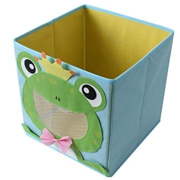 TE-Trend 4 Stück Textil Faltbox Spielbox Tiermotive Frosch AFFE Eule Kuh Aufbewahrung Truhe für Spielzeug faltbar 28 x 28 x 28 cm - 3