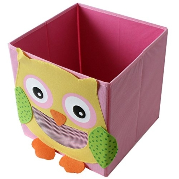 TE-Trend 4 Stück Textil Faltbox Spielbox Tiermotive Frosch AFFE Eule Kuh Aufbewahrung Truhe für Spielzeug faltbar 28 x 28 x 28 cm - 4