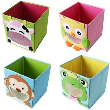 TE-Trend 4 Stück Textil Faltbox Spielbox Tiermotive Frosch AFFE Eule Kuh Aufbewahrung Truhe für Spielzeug faltbar 28 x 28 x 28 cm - 1