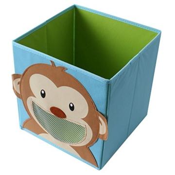TE-Trend 4 Stück Textil Faltbox Spielbox Tiermotive Frosch AFFE Eule Kuh Aufbewahrung Truhe für Spielzeug faltbar 28 x 28 x 28 cm - 5