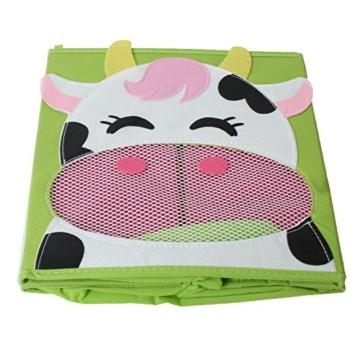 TE-Trend 4 Stück Textil Faltbox Spielbox Tiermotive Frosch AFFE Eule Kuh Aufbewahrung Truhe für Spielzeug faltbar 28 x 28 x 28 cm - 6