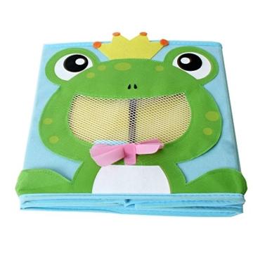 TE-Trend 4 Stück Textil Faltbox Spielbox Tiermotive Frosch AFFE Eule Kuh Aufbewahrung Truhe für Spielzeug faltbar 28 x 28 x 28 cm - 7