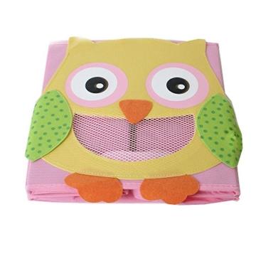 TE-Trend 4 Stück Textil Faltbox Spielbox Tiermotive Frosch AFFE Eule Kuh Aufbewahrung Truhe für Spielzeug faltbar 28 x 28 x 28 cm - 8