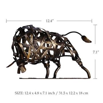 Tooarts Metall Geflochtene Rind Deko Skulptur Dekofigur Moderne Skulptur zum Dekorieren - 3